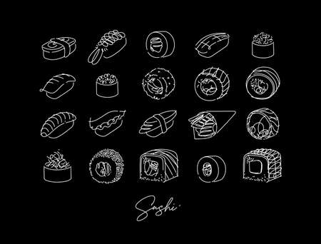 Sushi types poster drawing in line style on black background