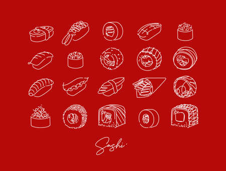 Sushi types poster drawing in line style on red background