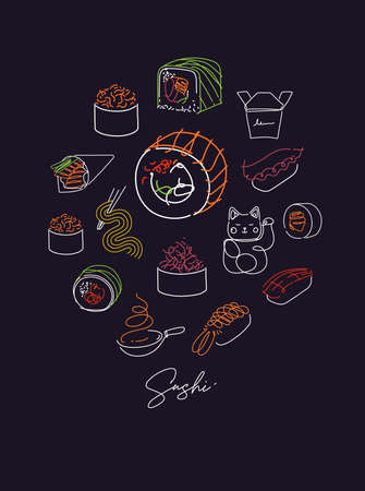 Sushi types poster drawing with color in line style on dark background 矢量图像