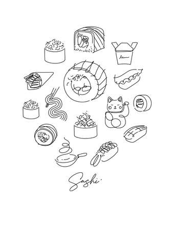 Sushi types poster drawing in line style on white background