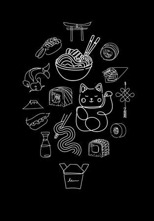 Asian food poster drawing in line style on black background
