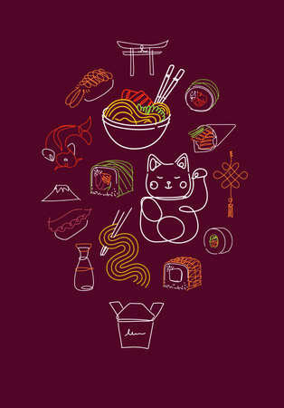 Asian food poster drawing with color in line style on red background