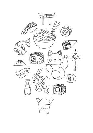 Asian food poster drawing in line style on white background 矢量图像