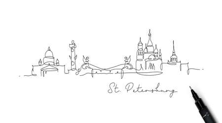 City silhouette st petersburg in pen line style drawing with black lines on white background