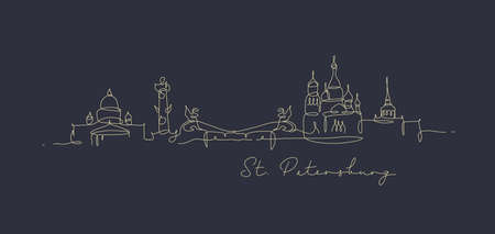 City silhouette st petersburg in pen line style drawing with black lines on dark blue background 矢量图像