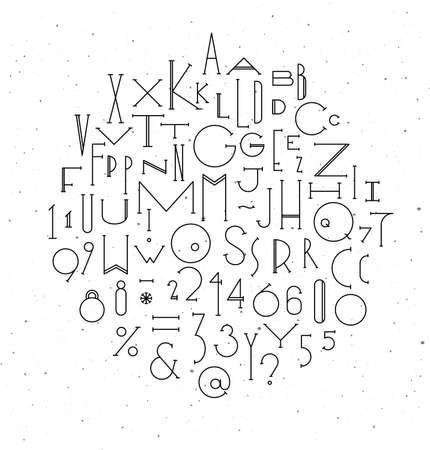 Art deco alphabet drawing in line style on white background