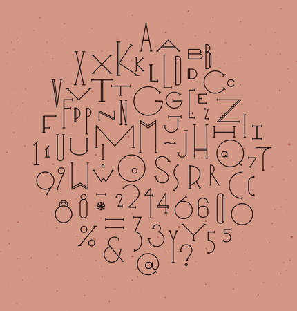 Art deco alphabet drawing in line style on powdery color background