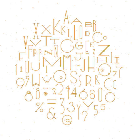 Art deco alphabet drawing with gold line on white background
