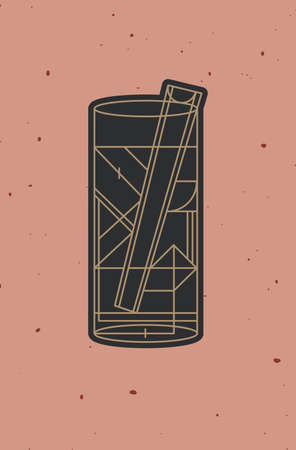 Art deco cocktail bloody mary drawing in line style on powder coral background