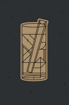 Art deco cocktail bloody mary drawing in line style on dark background