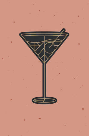 Art deco cocktail cosmopolitan drawing in line style on powder coral background 矢量图像