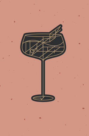 Art deco cocktail cuba libre drawing in line style on powder coral background