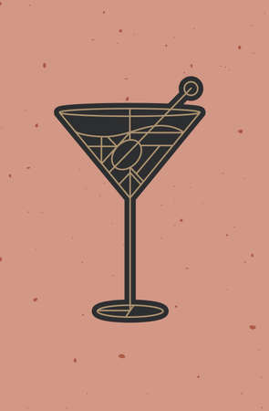 Art deco cocktail dirty martini drawing in line style on powder coral background
