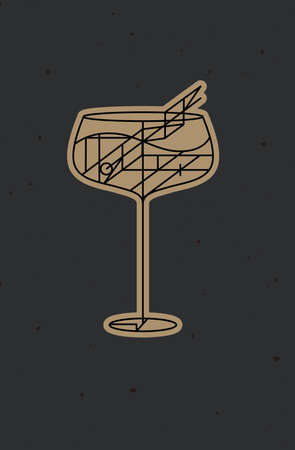 Art deco cocktail cuba libre drawing in line style on dark background 矢量图像