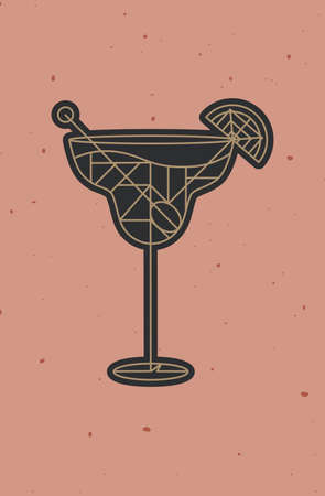Art deco cocktail margarita drawing in line style on powder coral background