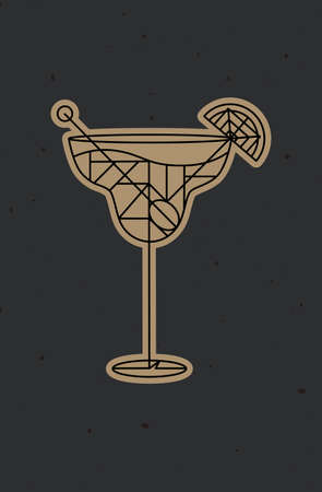 Art deco cocktail margarita drawing in line style on dark background