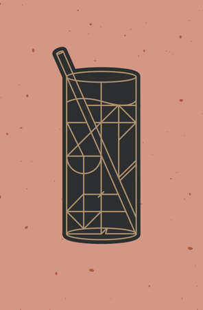 Art deco cocktail mojito drawing in line style on powder coral background