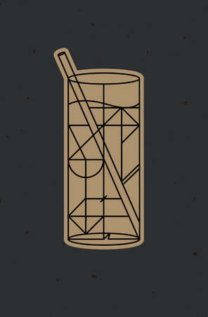 Art deco cocktail mojito drawing in line style on dark background