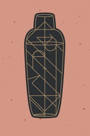 Art deco cocktail shaker drawing in line style on powder coral background