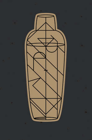 Art deco cocktail shaker drawing in line style on dark background