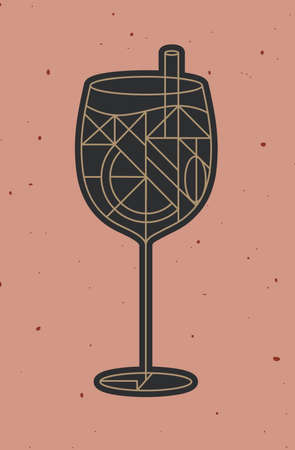 Art deco cocktail drawing in line style on powder coral background