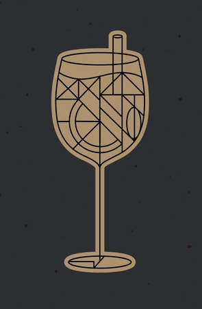 Art deco cocktail drawing in line style on dark background 矢量图像