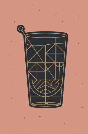 Art deco cocktail tequila drawing in line style on powder coral background