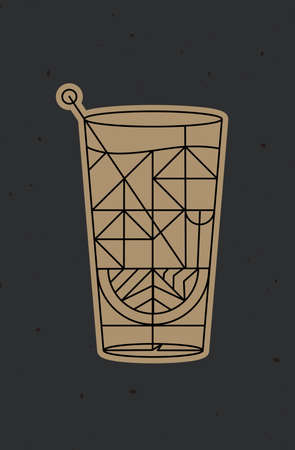 Art deco cocktail tequila drawing in line style on dark background 矢量图像