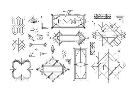 Art deco vintage design elements drawing in line style on white background
