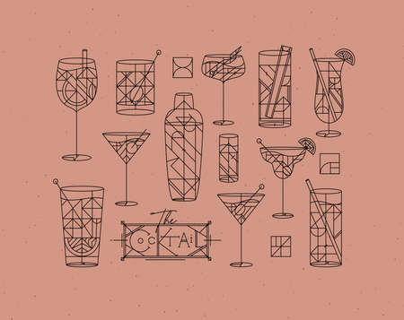 Art deco cocktails set drawing in line style on powder coral background 矢量图像