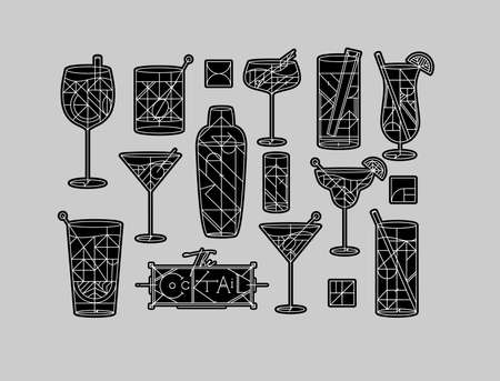 Art deco cocktails set drawing in line style on grey background