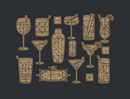 Art deco cocktails set drawing in line style with fill gold on dark background