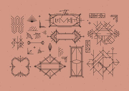 Art deco vintage design elements drawing in line style on powder coral background 矢量图像