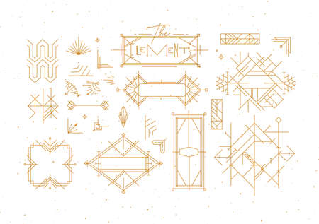 Art deco vintage design elements drawing in gold line style on white background