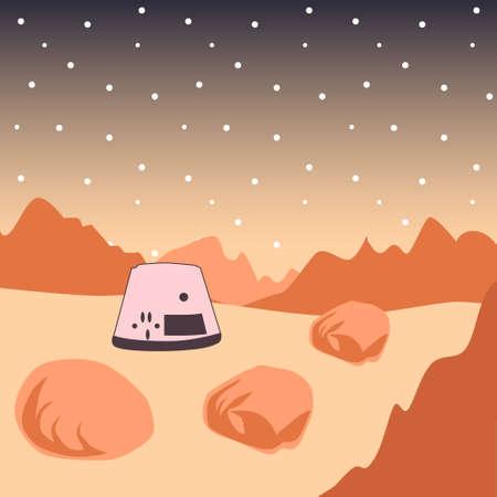 Dark red Mars planet space landscape