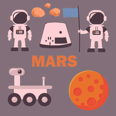 Set of symbol space mars outearth rover