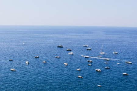 Sea view. Parked boats. Amalfi Coast, Italy.