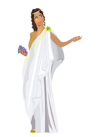 classical mythology character: Greek goddess with grapes in his hand