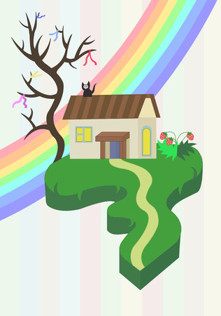 a beautiful house with a tree on a piece of land