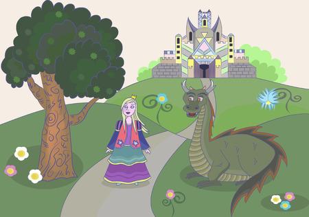 Princess near the fairytale castle and the evil dragon