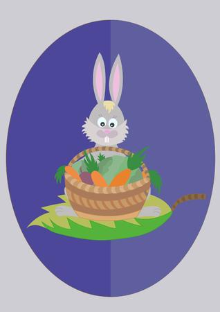 konijn met een mandje met groenten