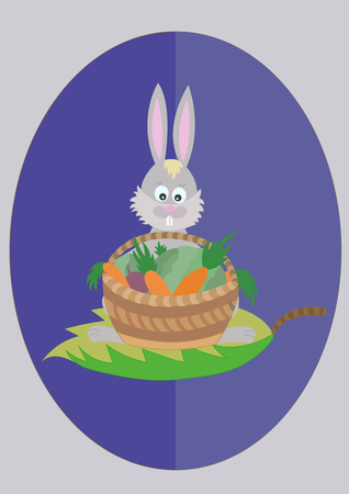 rabbit with a basket of vegetables