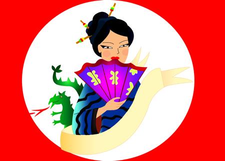 Japanese woman in a blue kimono