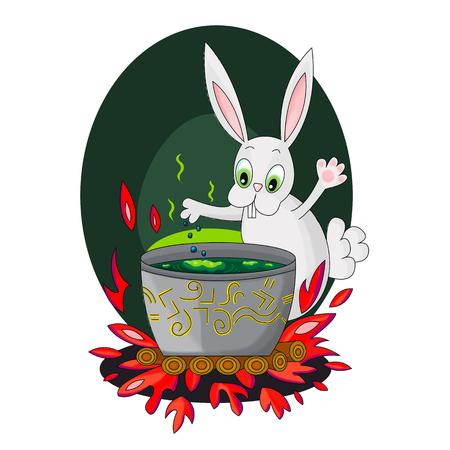 Rabbit brews a potion in the magic cauldron