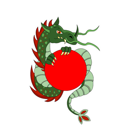 green dragon with red circle Illustration