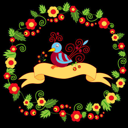 mythical phoenix bird: bird with berries on black background