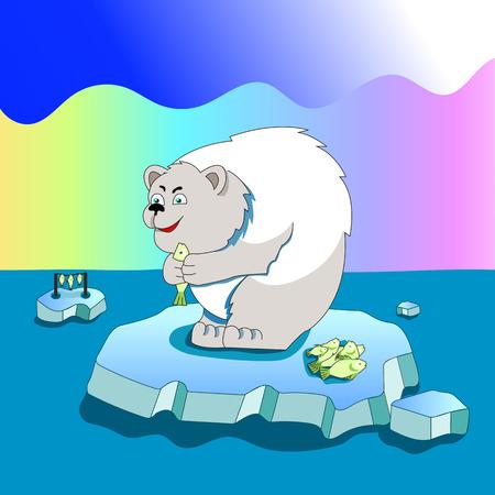 Polar bear caught a fish Illustration