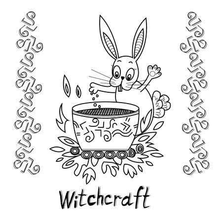magic cauldron: Rabbit brews a potion in the magic cauldron