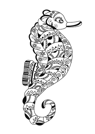 remote view: seahorse in style zentangl Illustration
