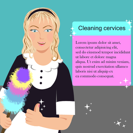 woman with brush from a cleaning service Illustration